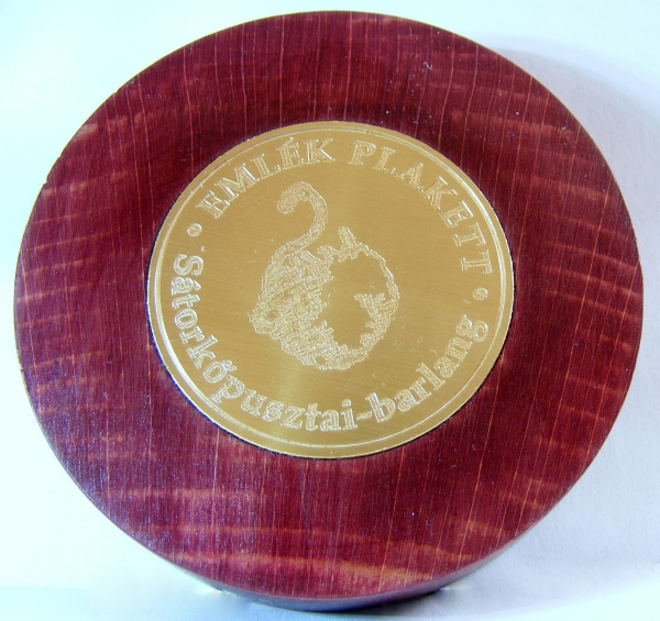 Plakett (7 cm átmérőjű fa foglalatban, 3,8 cm-es, gravírozott rézérme) 2000 Ft