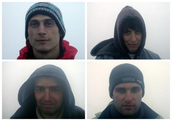 Csapatunk az aktív vulkánon töltött, átvirrasztott éjszaka után fentről, balról): Láng István, Érdi-Krausz Erika, Michels Antal, Lieber Tamás