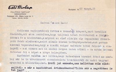 Bernáth László Jakucs Lacinak küldött levele a Faggyúfáklyás-expedíció megjelenésének idején részlet)