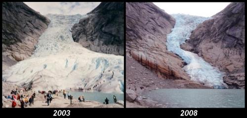 A gleccserek változása néhány év alatt is szembetűnő (Forrás: Wikipedia)
