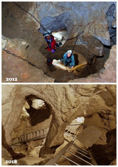 A Ferde-terembe vezető lejárat (Kacsa) átalakítás előtt és után